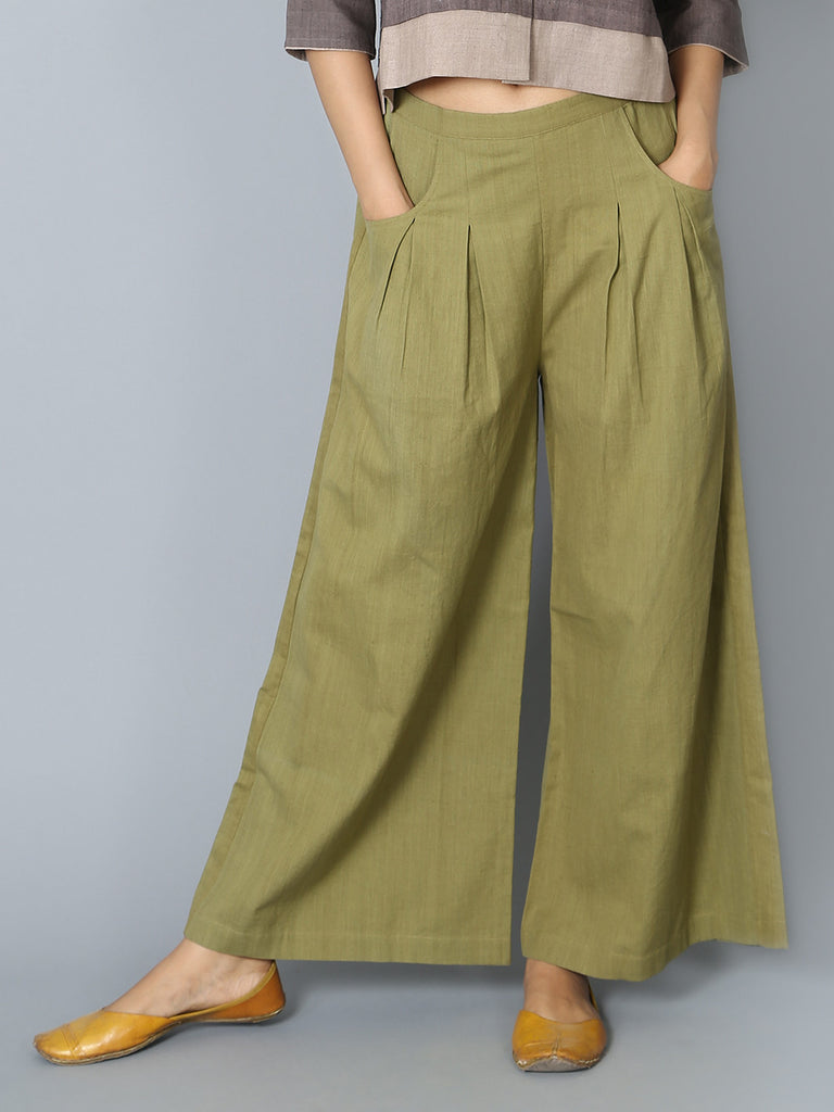 Green Box Pleated Khadi Pants