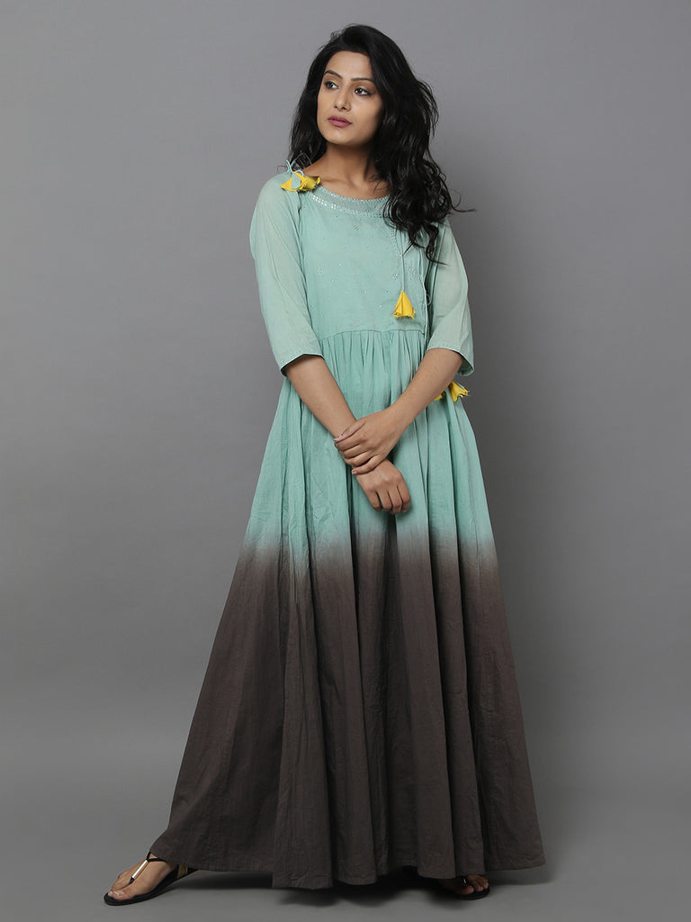 Green Brown Cotton Anarkali Dress