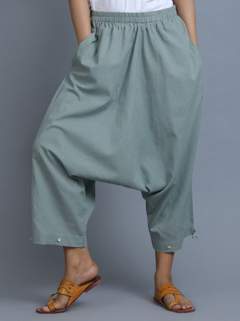 Sea Green Cambric Cotton Harem Pants