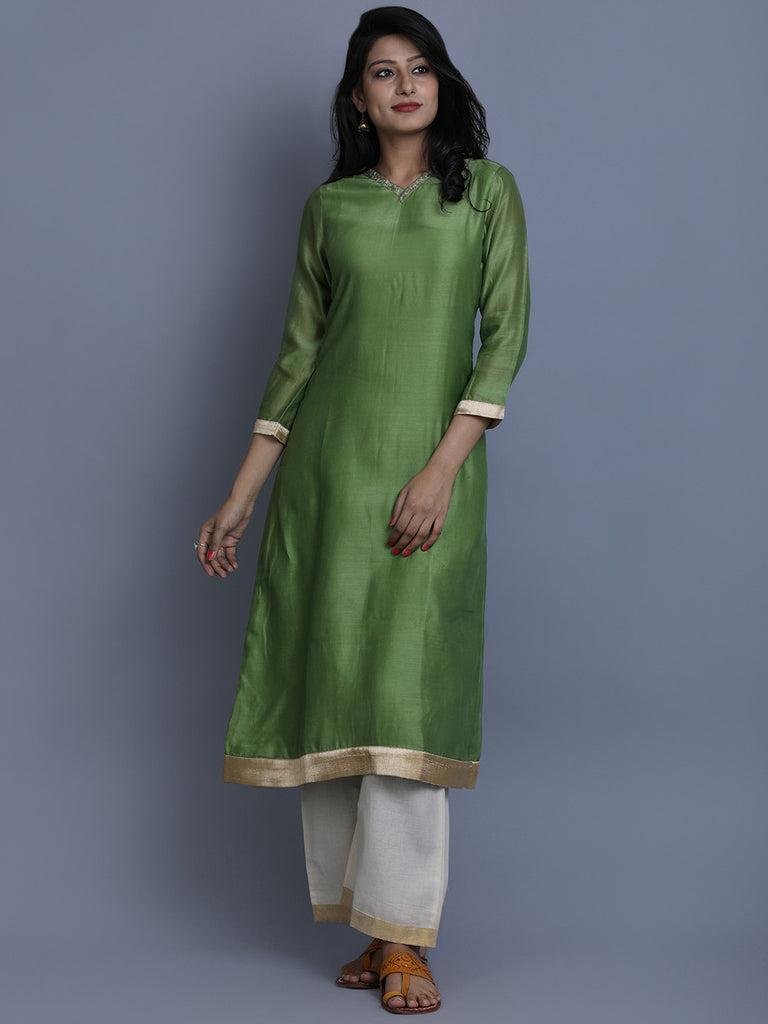 Green Chanderi Embroidered Kurta