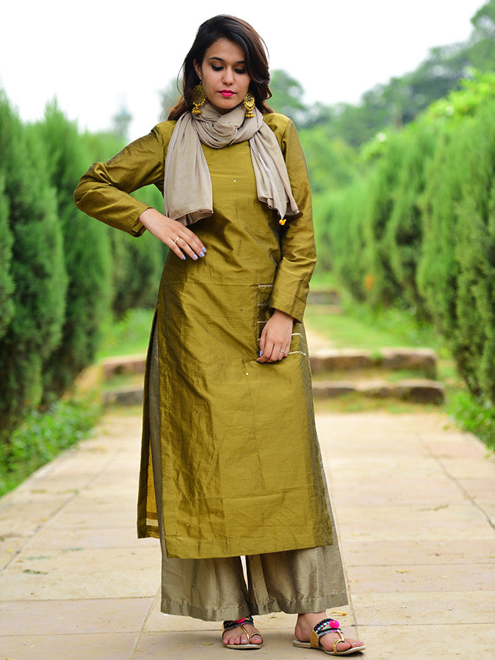 Green Chanderi Gota Embellished Kurta