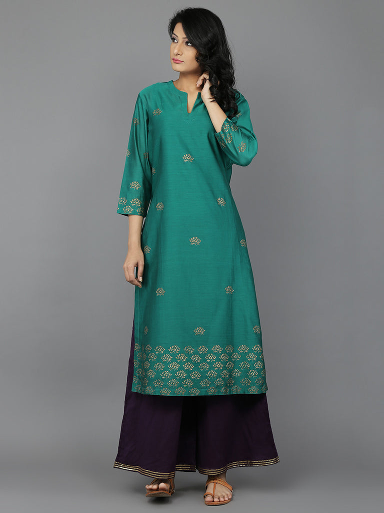 Green Block Printed Chanderi Kurta with Cotton Slip
