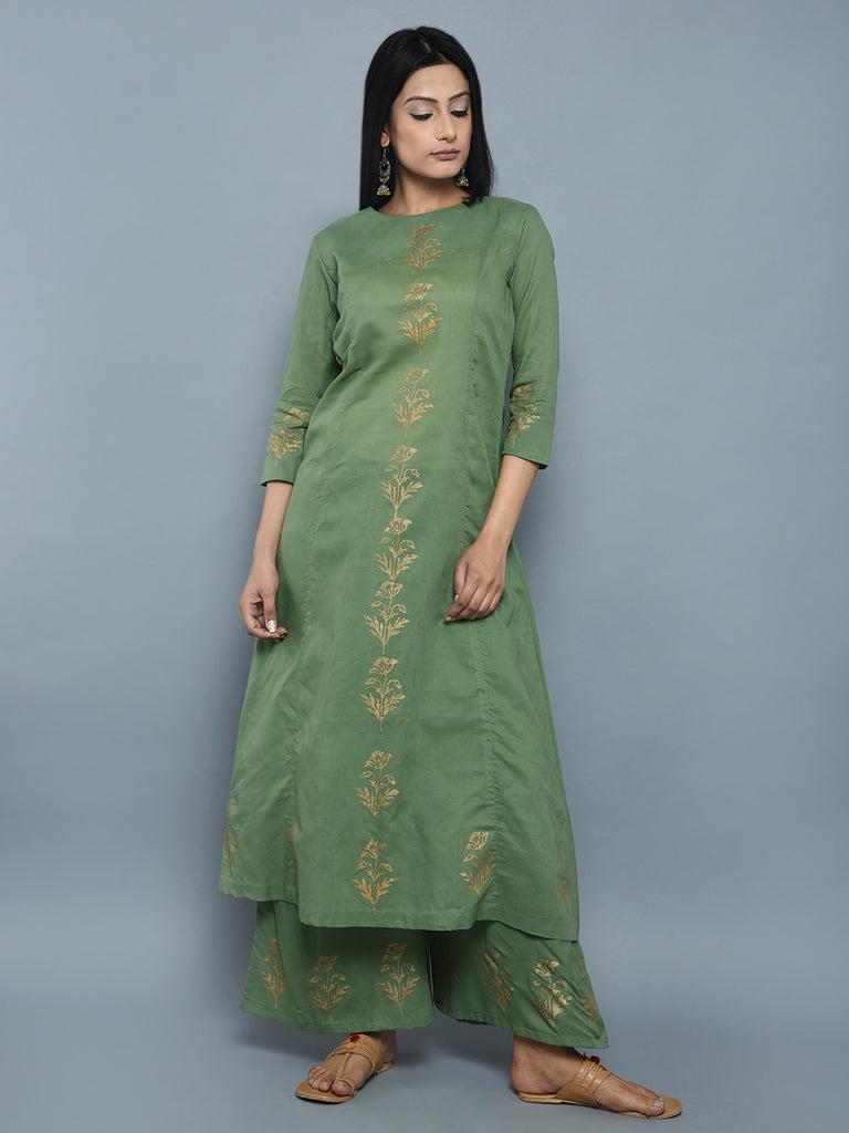 Green Cotton A Line Hand Block Printed Kurta
