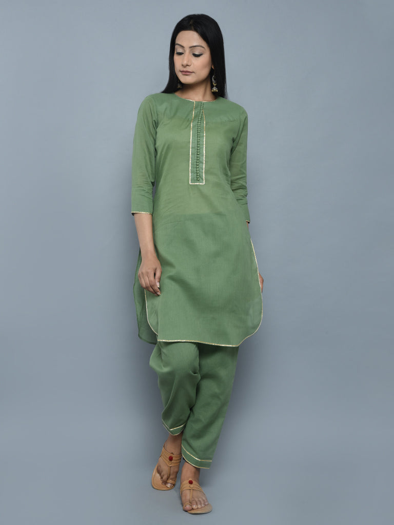 Green Cotton Buttoned Kurta