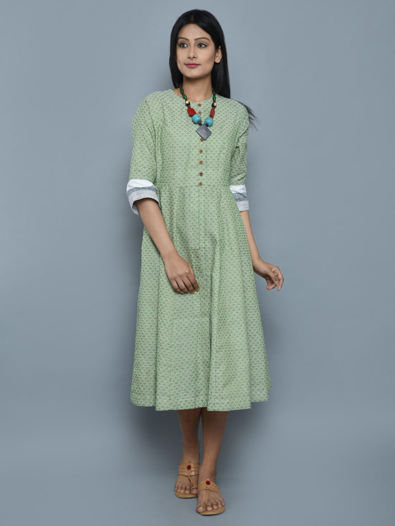Green Cotton Cape Dress