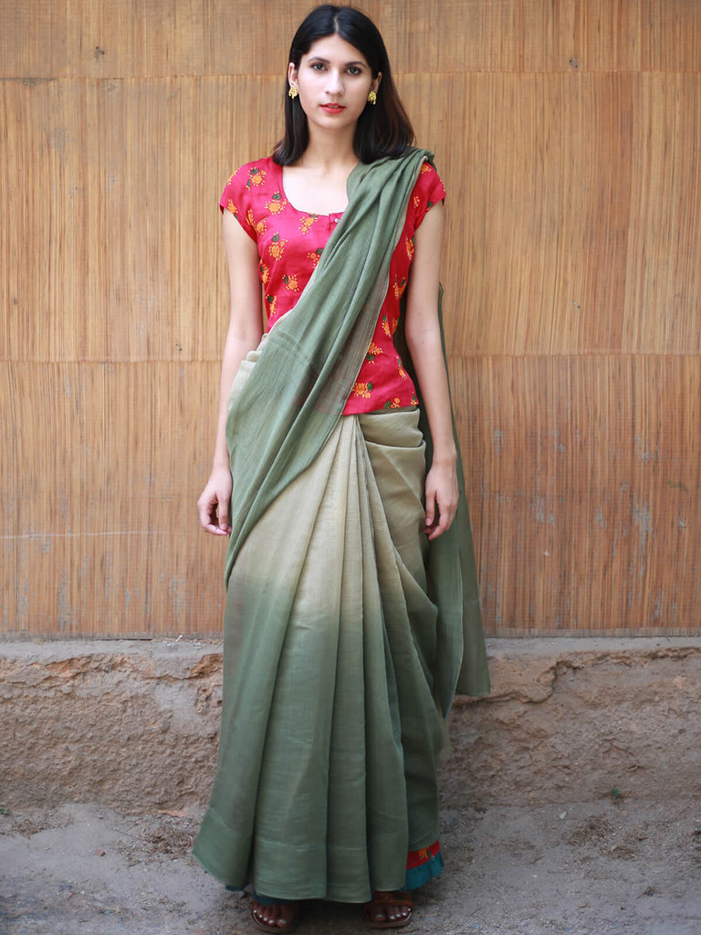 Green Cotton Chanderi Double Shaded Saree