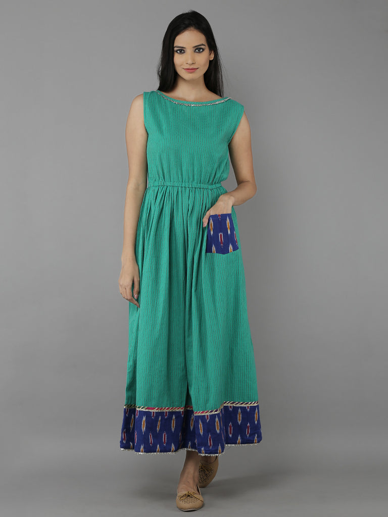 Green Cotton Handloom Dress