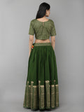 Green Cotton Floral Printed Lehenga with Blouse