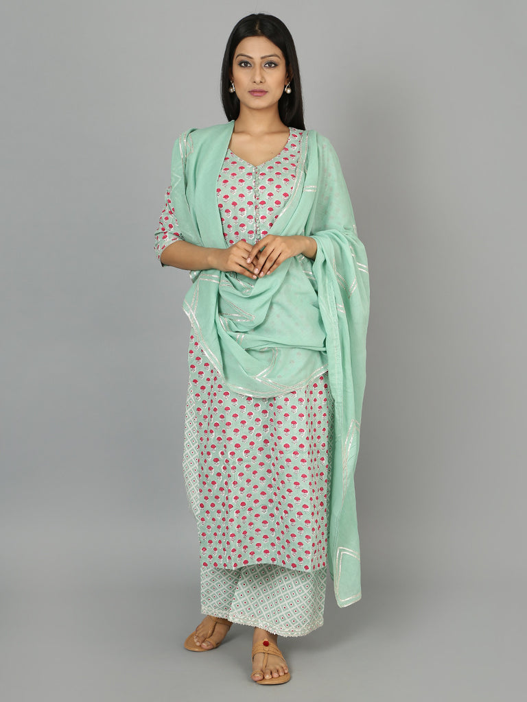Green Cotton Gota Dupatta