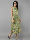 Green Cotton Hand Block Printed Dress