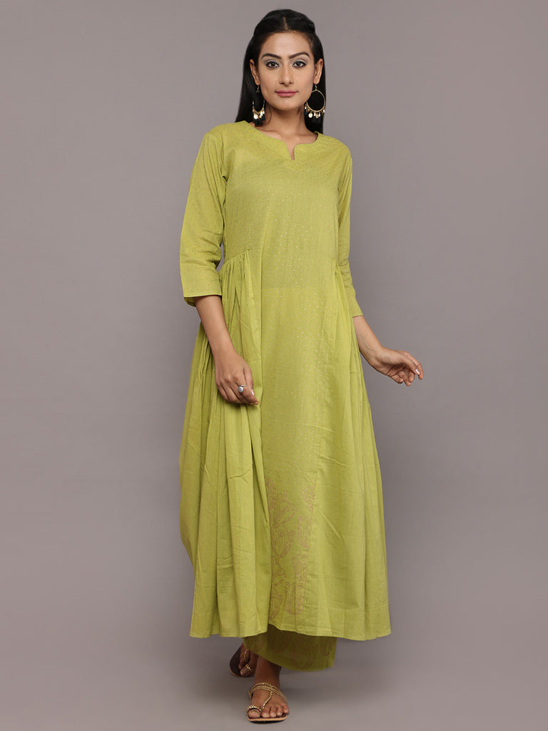 Green Cotton Hand Block Printed Kurta