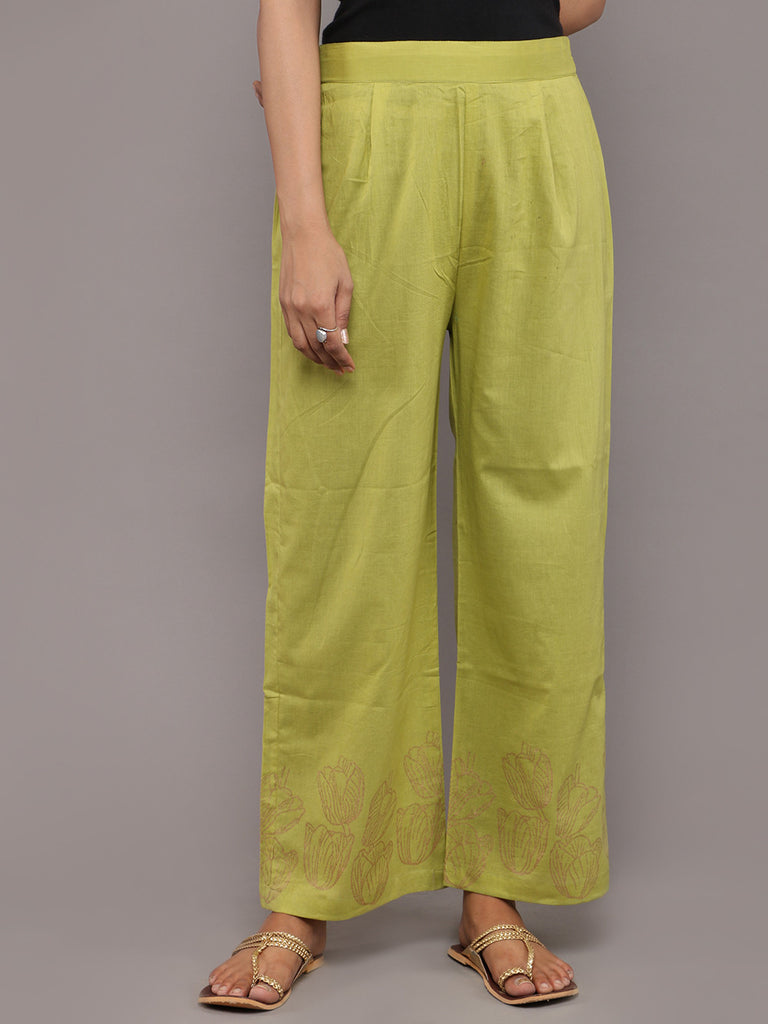 Green Cotton Hand Block Printed Pants