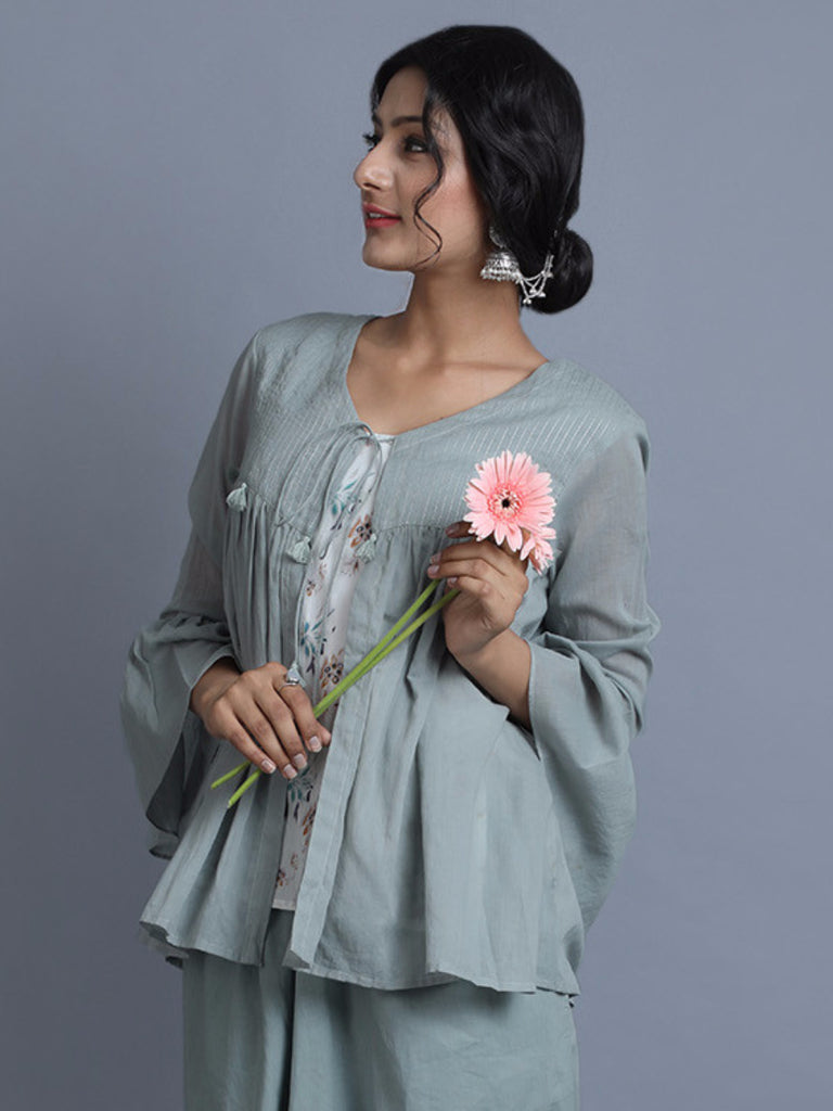 Sea Green Cotton Kedia Top with Printed Slip
