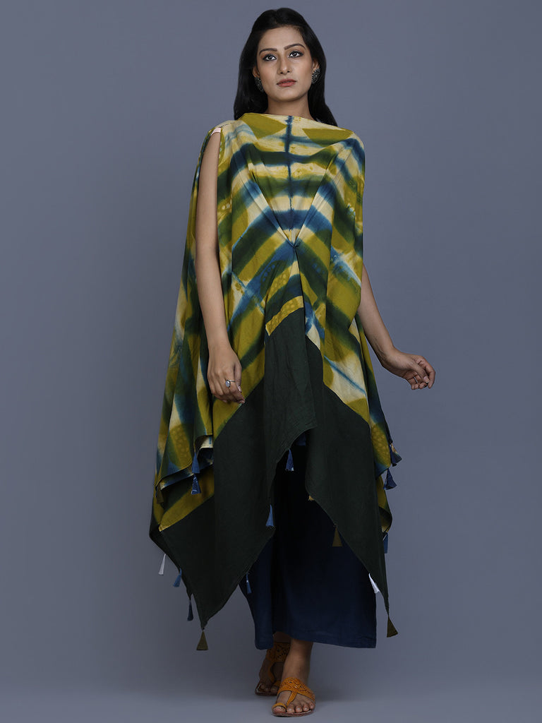 Green Cotton Shibori Tunic cum Dress