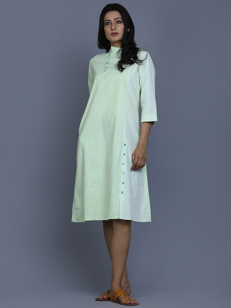 Green Cotton Shirt Dress