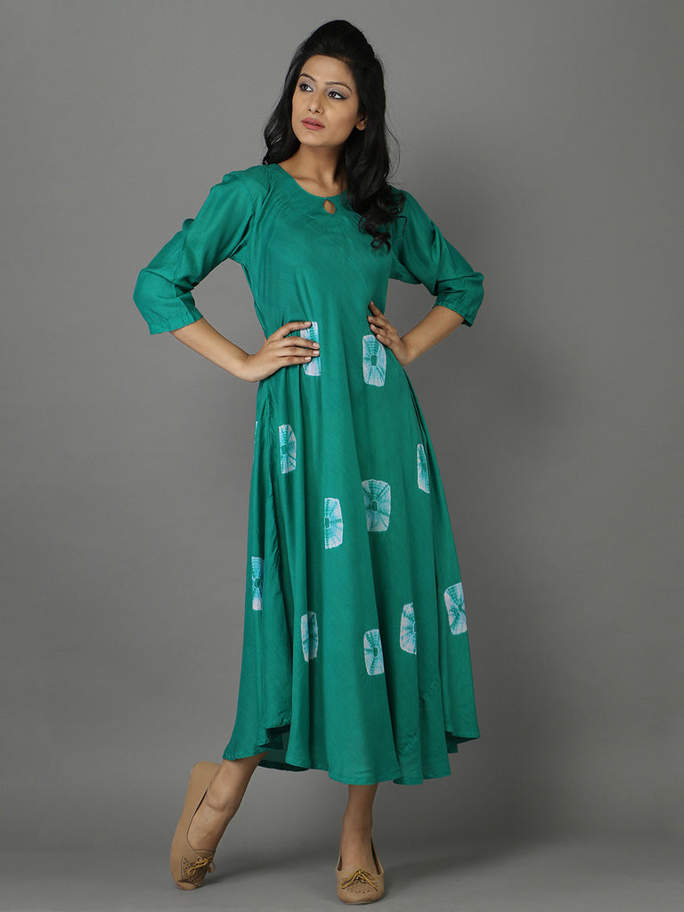Green Cotton Cotton Silk Bandhej Dress