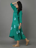 Green Cotton Silk Bandhej Dress