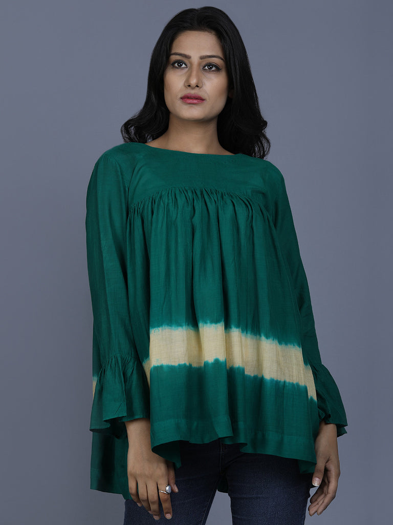 Green Cotton Silk Batik Top