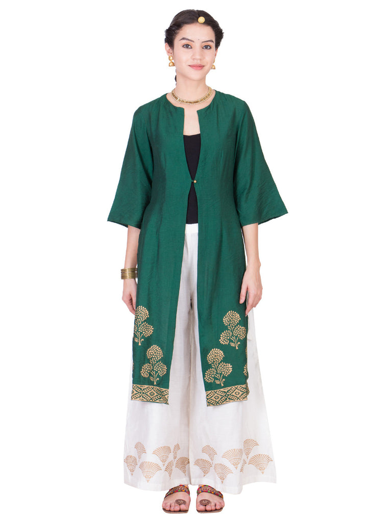 Green Cotton Silk Wrap Dress