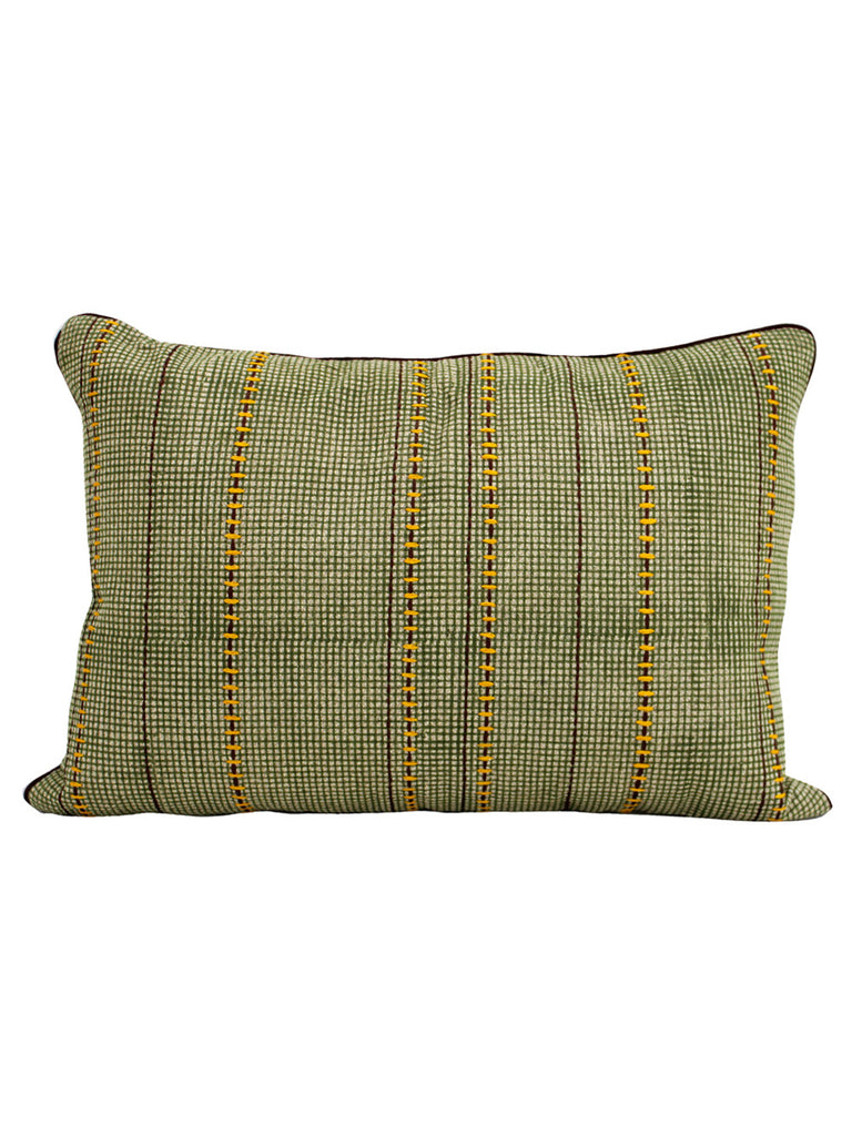 Green Cotton Slub Block Printed and Embroidered Cushion Cover