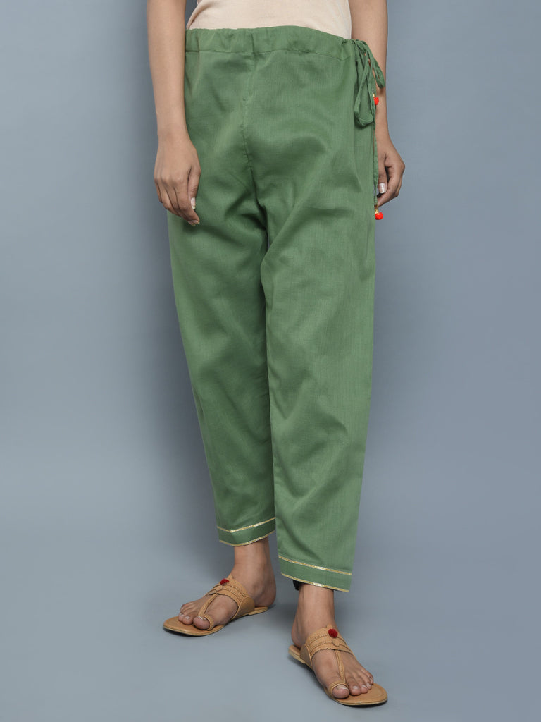 Green Cotton Tassels Pants