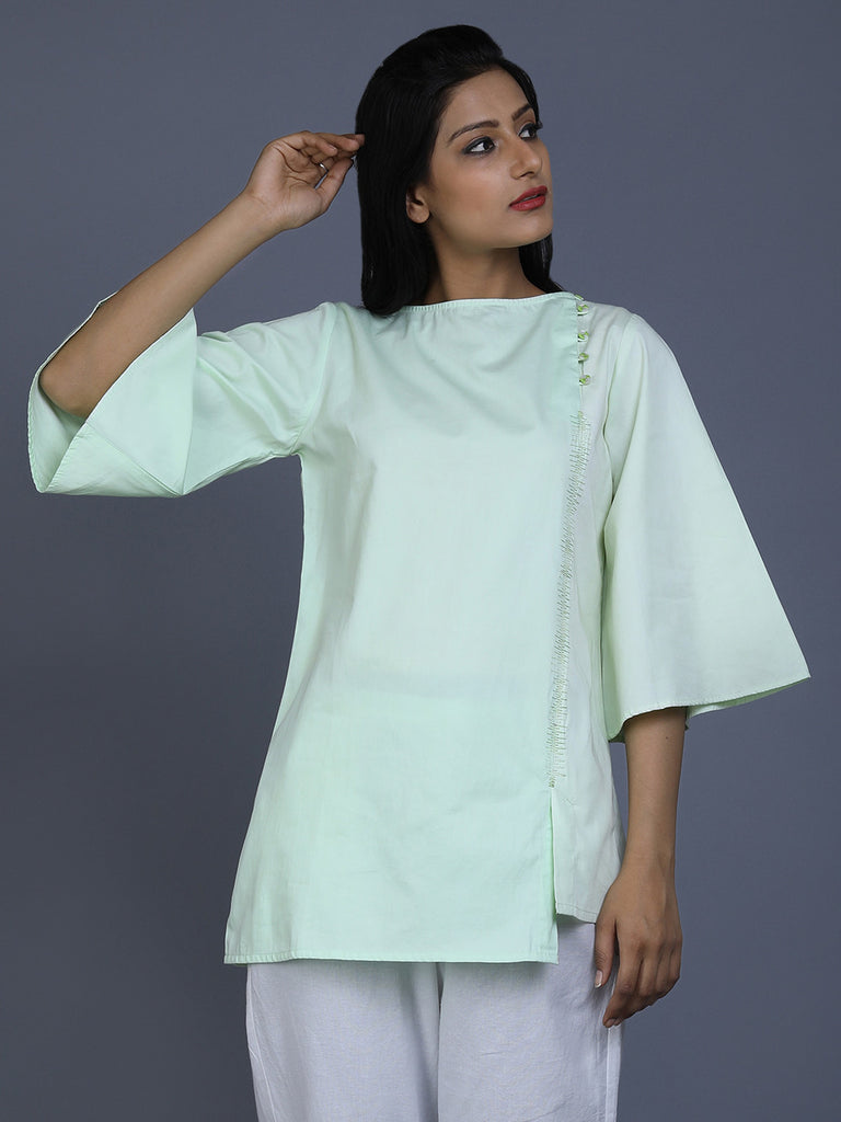 Green Cotton Satin Bell Sleeve Top