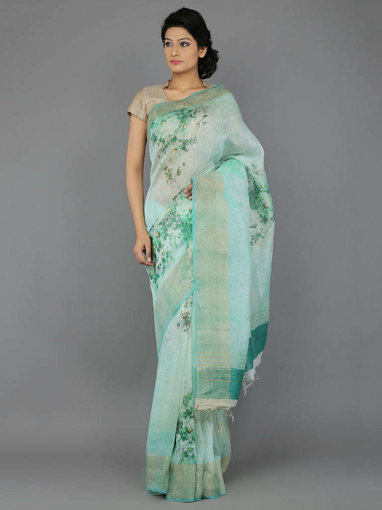 Green Digital Printed Handwoven Linen Saree