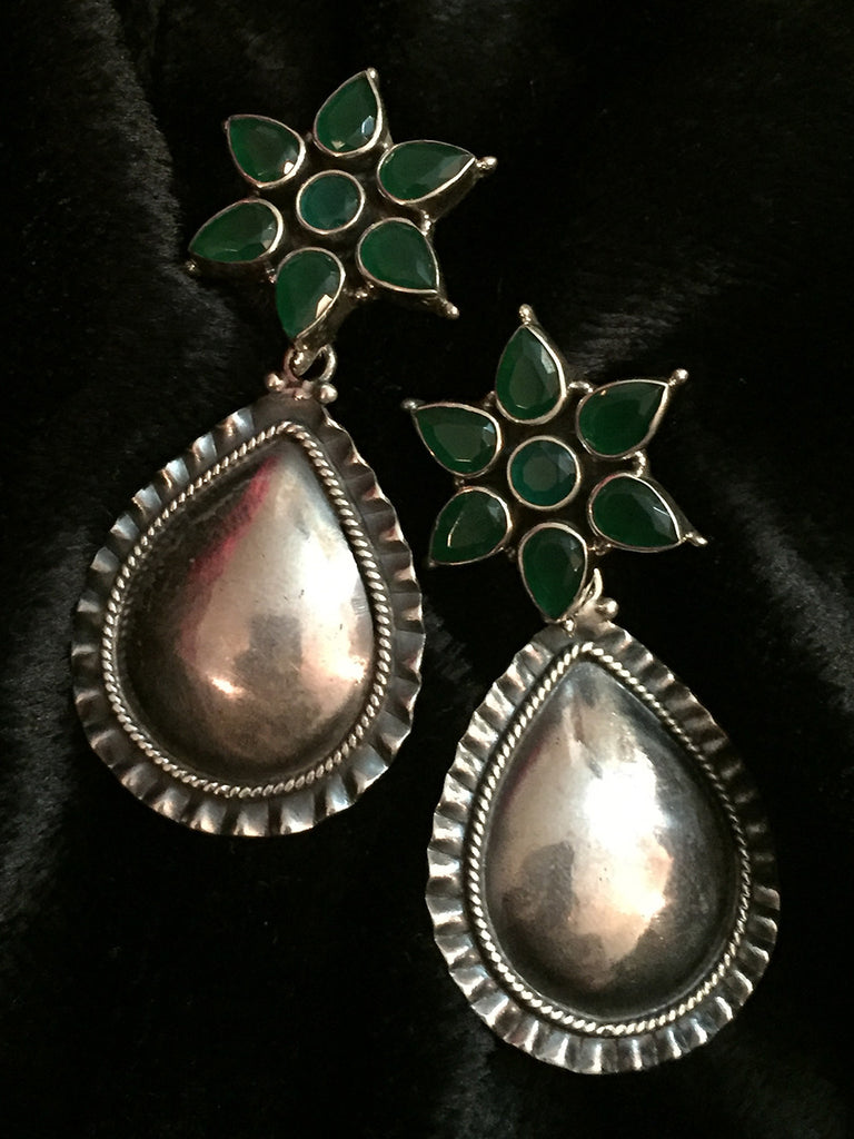 Green Droplet Silver Earrings