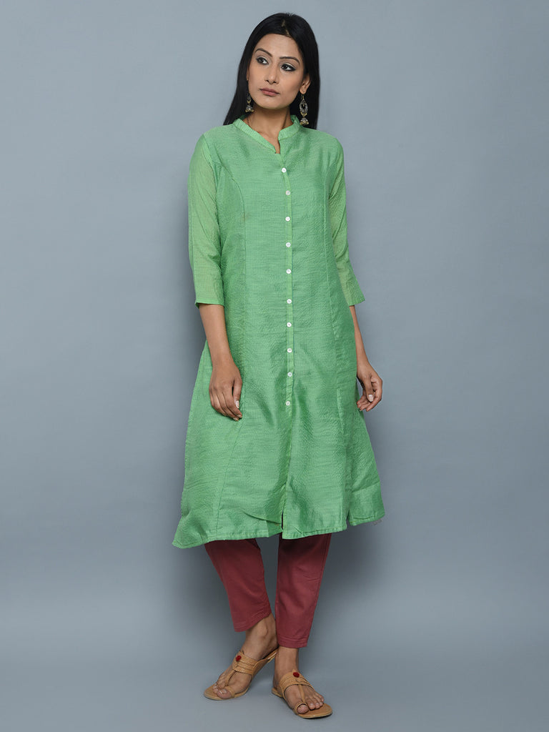 Green Garhwal Weave Cotton A Line Kurta