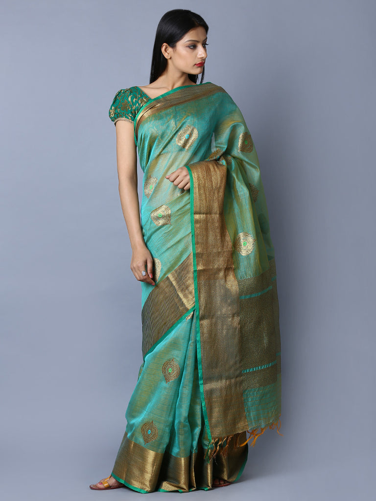 Green Kora Cotton Handwoven Banarasi Saree
