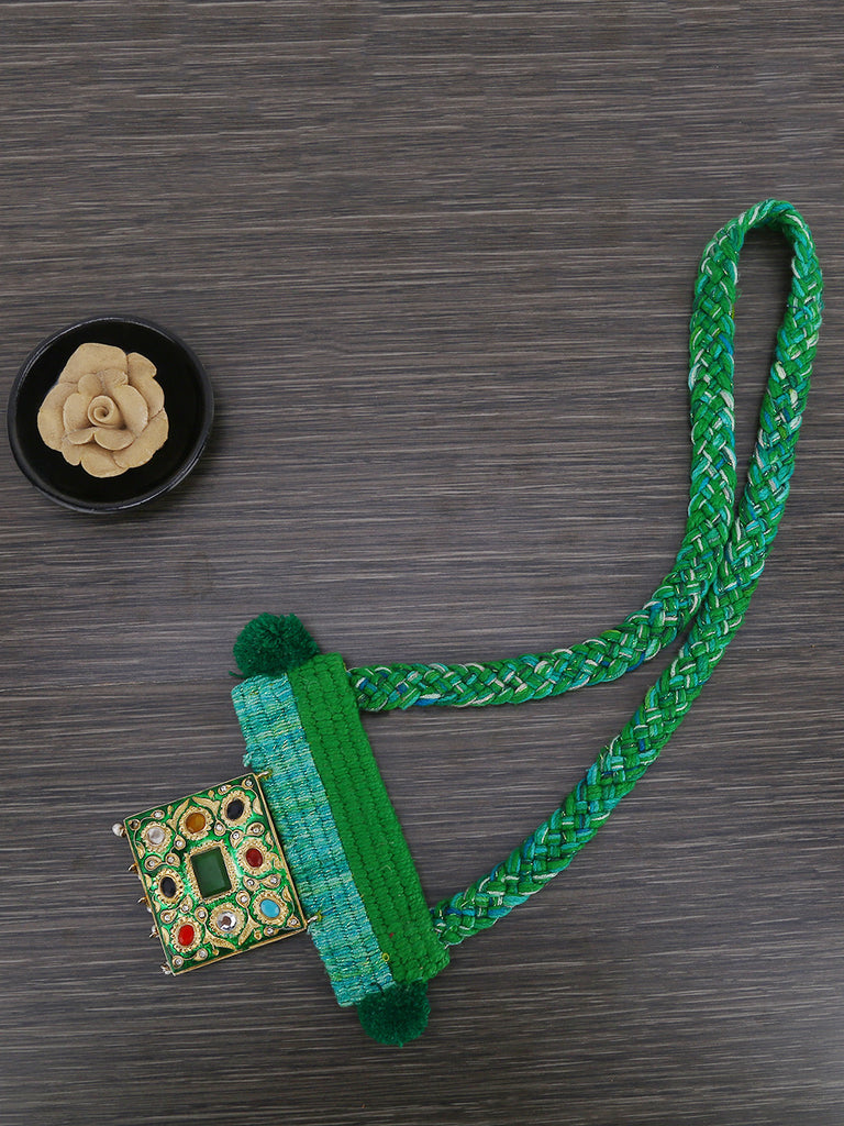 Green Hand Weaved Jadau Necklace