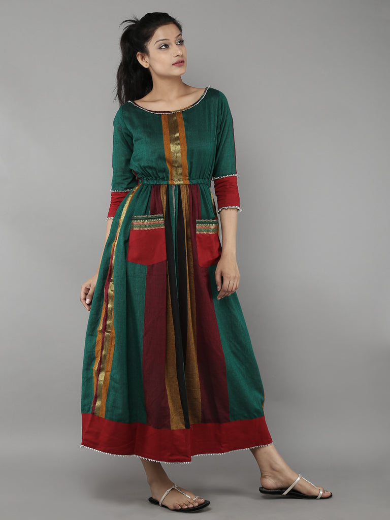Green Handloom Cotton Dress