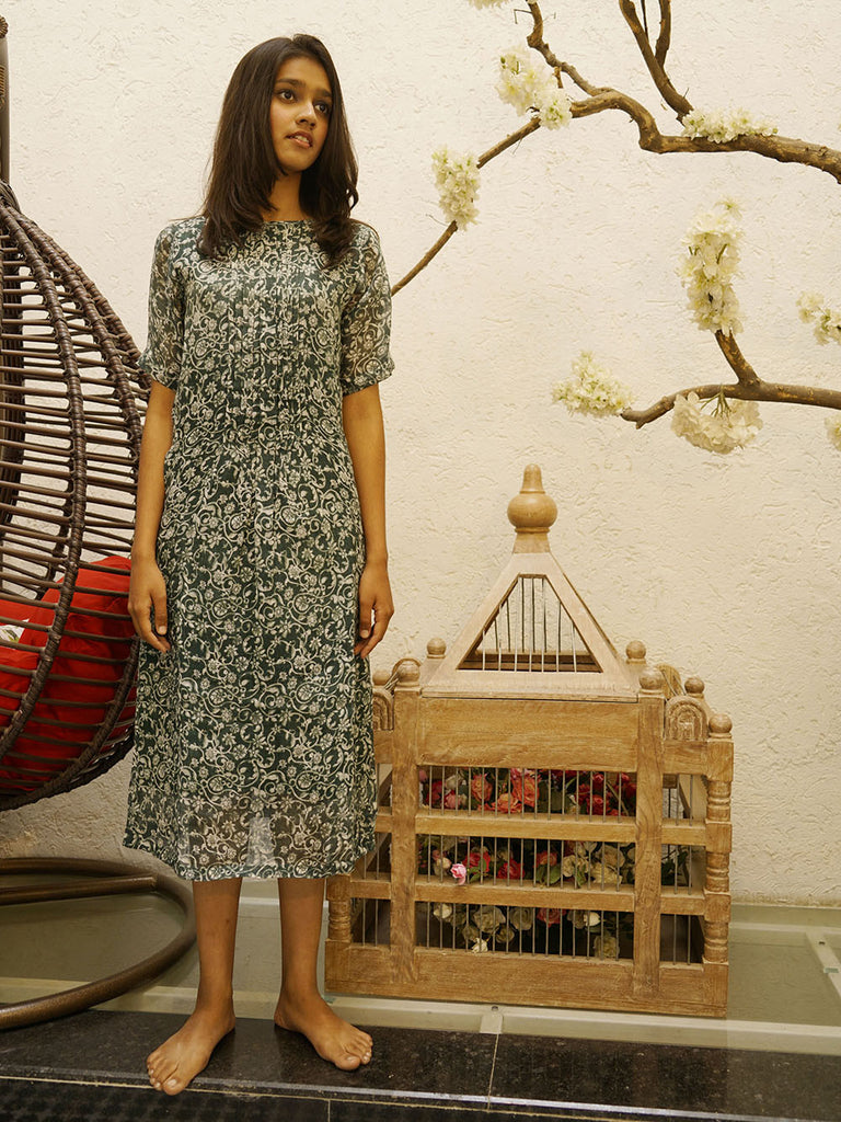 Green Handloom Linen Printed Dress