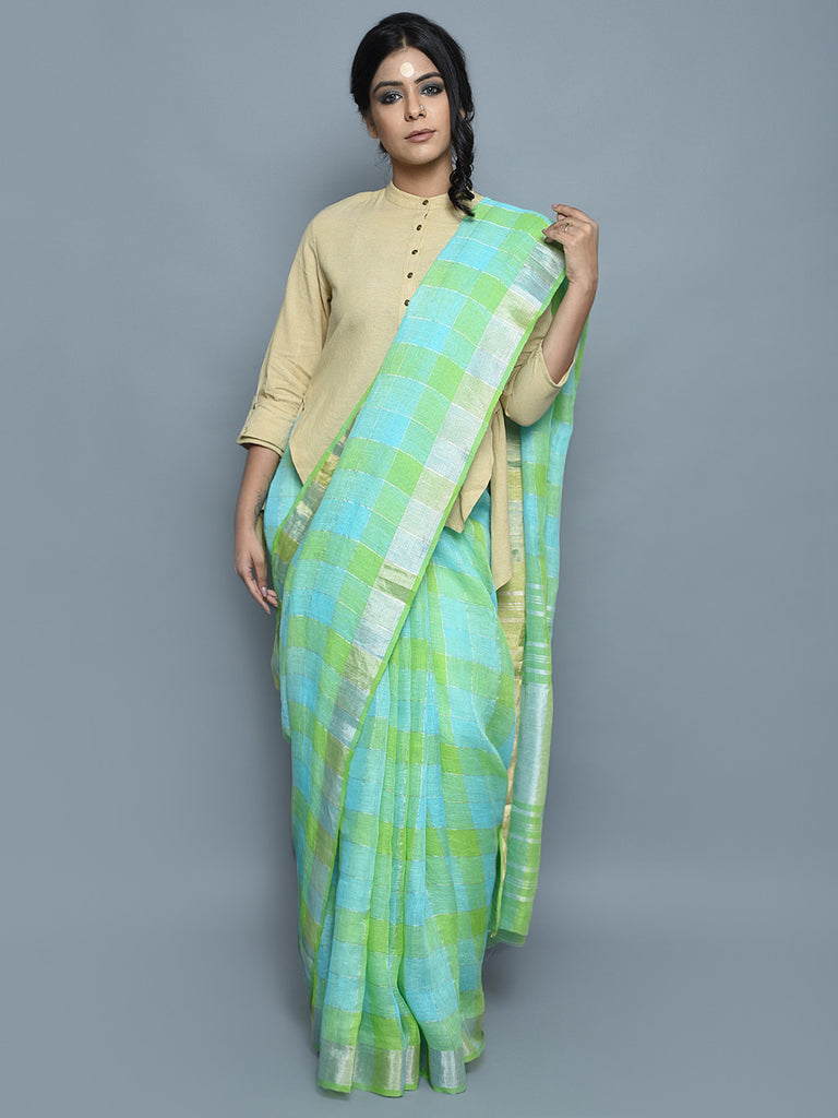 Green Handwoven Linen Saree