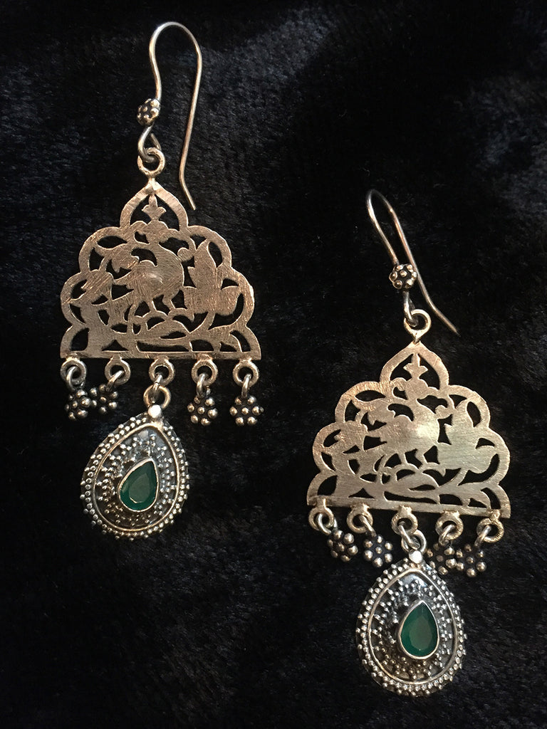 Green Jaali Silver Earrings