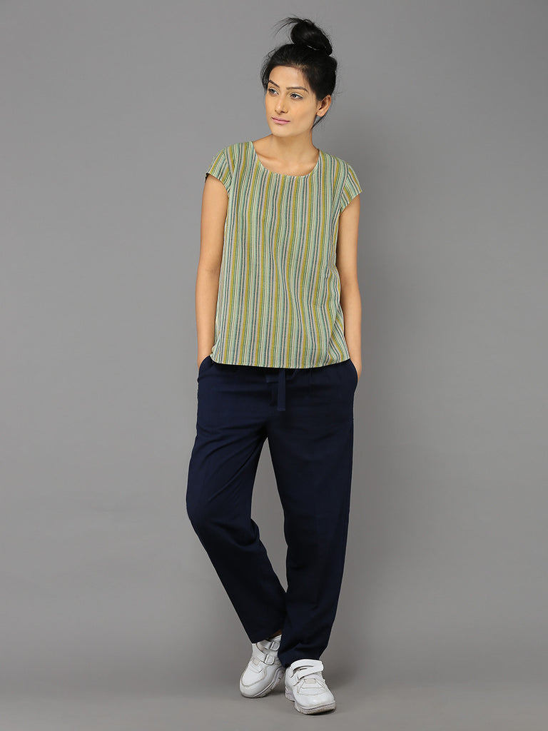Green Khadi Cotton Short Sleeve Basic Blouse