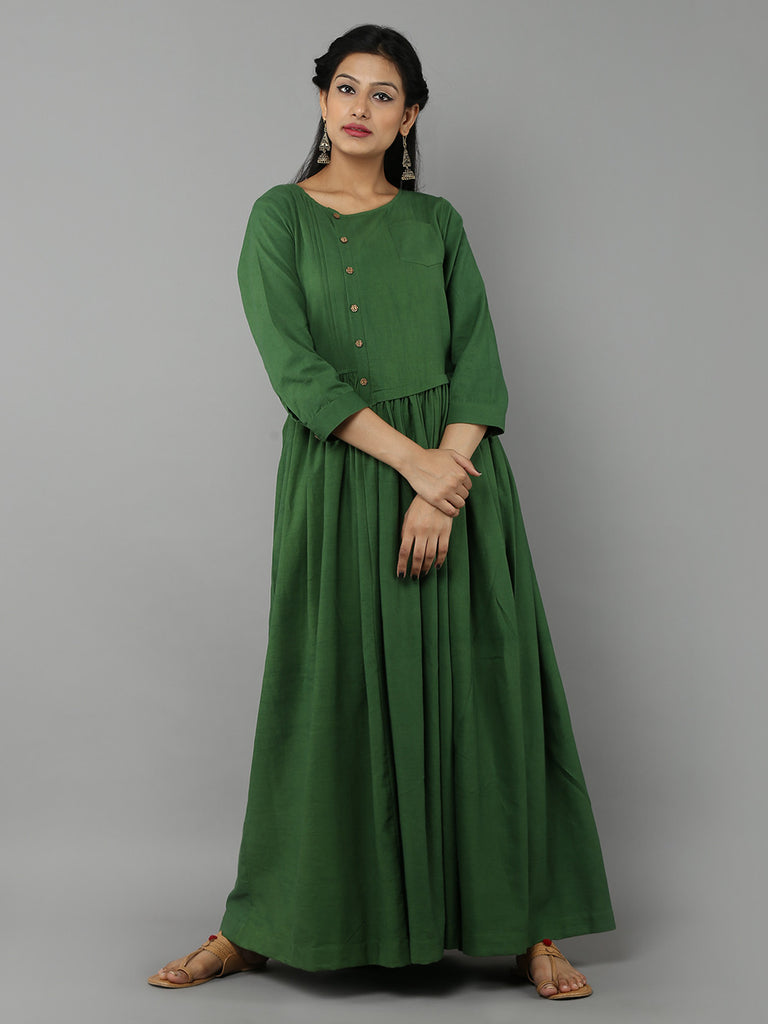 Green Khadi Dress with Gathers
