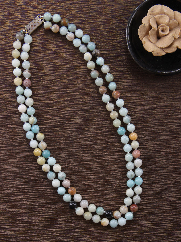 Blue Grey Larimar Double Strand Necklace