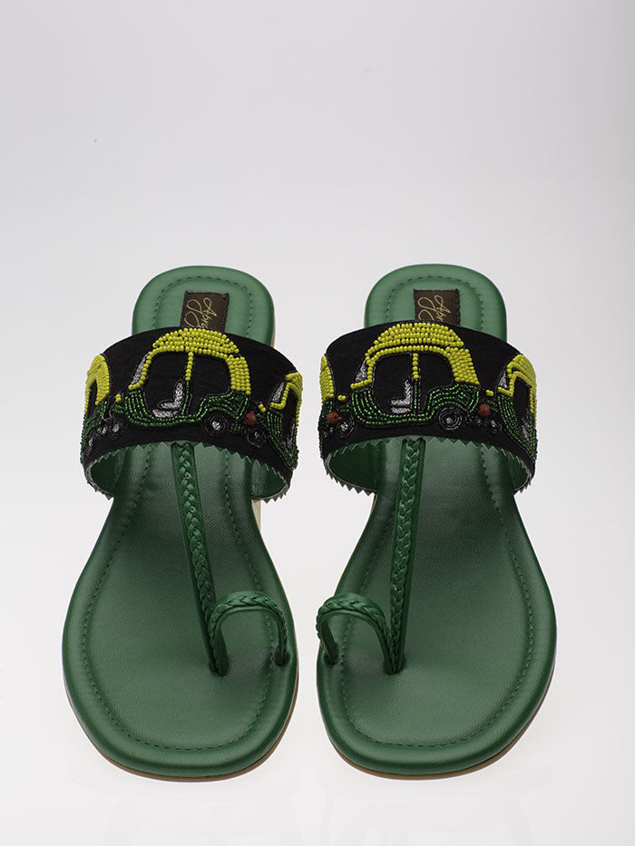 Green Leather Auto Flats