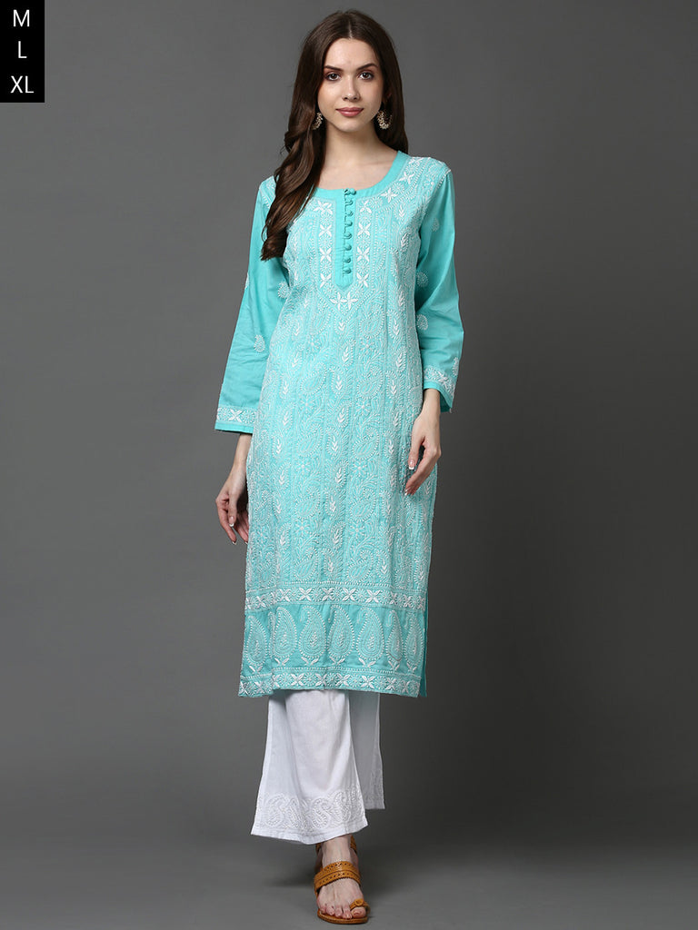Green Lucknowi Hand Embroidered Cotton Kurta