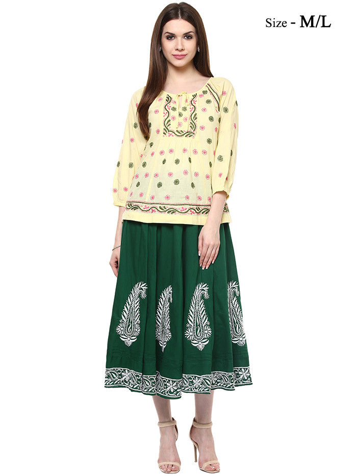 Green Lucknowi Hand Emroidered Cotton Skirt