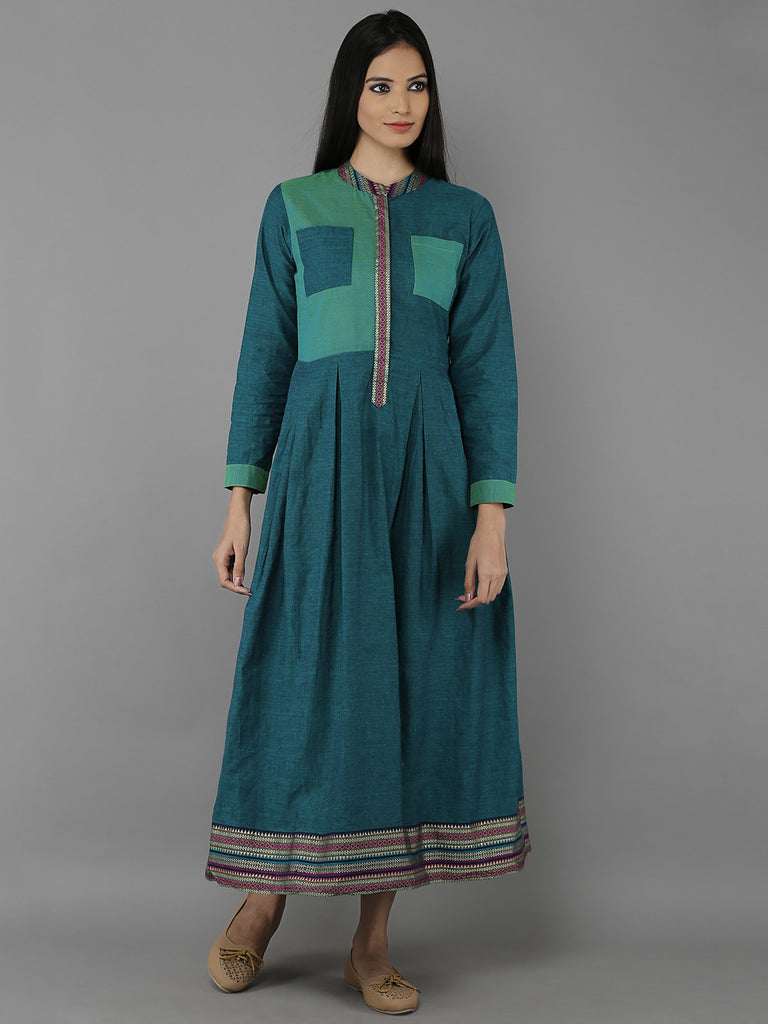 Green Mangalgiri Cotton Pleated Dress