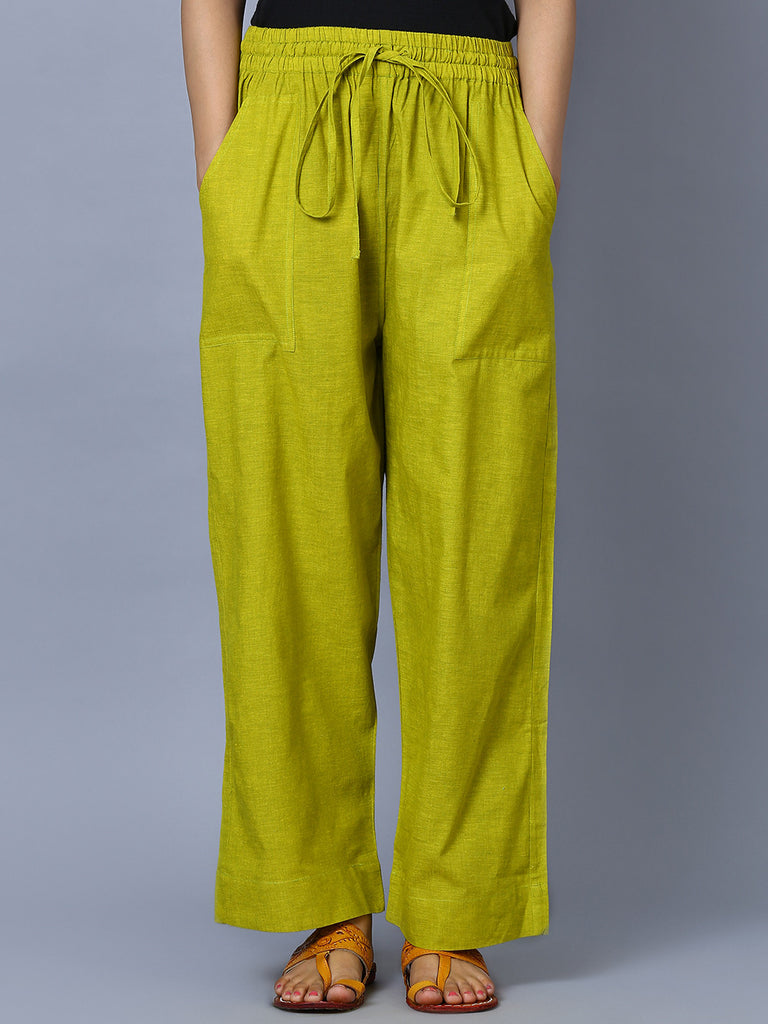 Green Mangalgiri Cotton Trousers