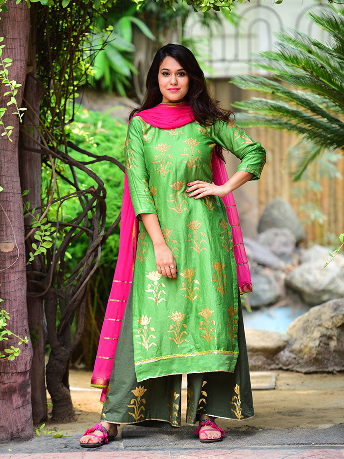 Green Pink Mughal Foil Printed Chanderi Suit - Set of 3