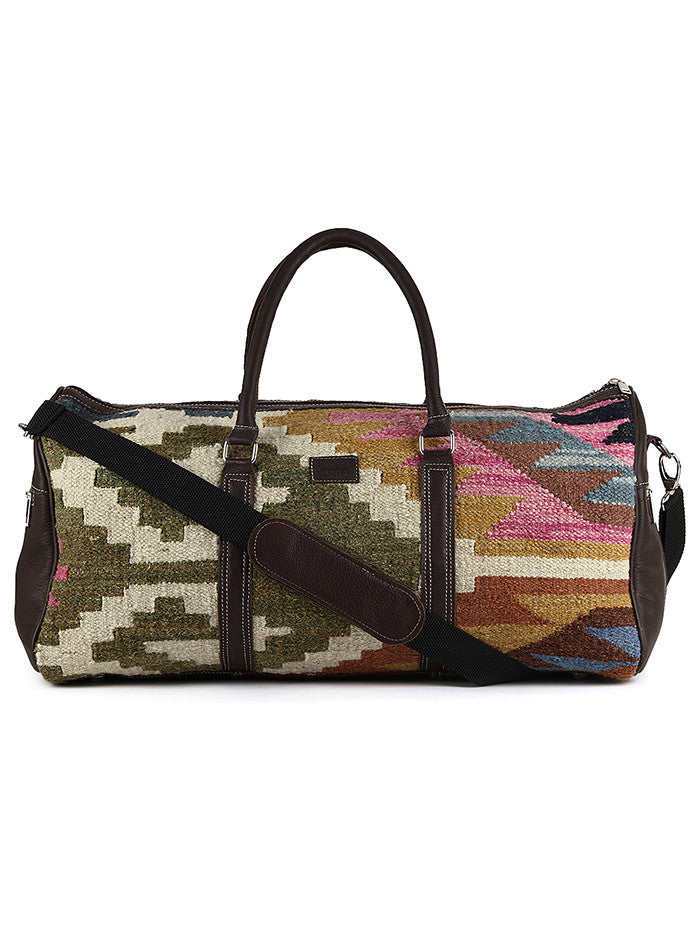 Green Off White Kilim Boho Travel Bag