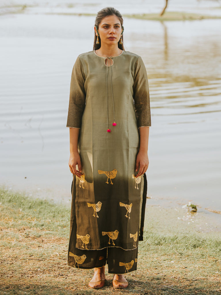 Green Chanderi Bird Foil Printed Kurta