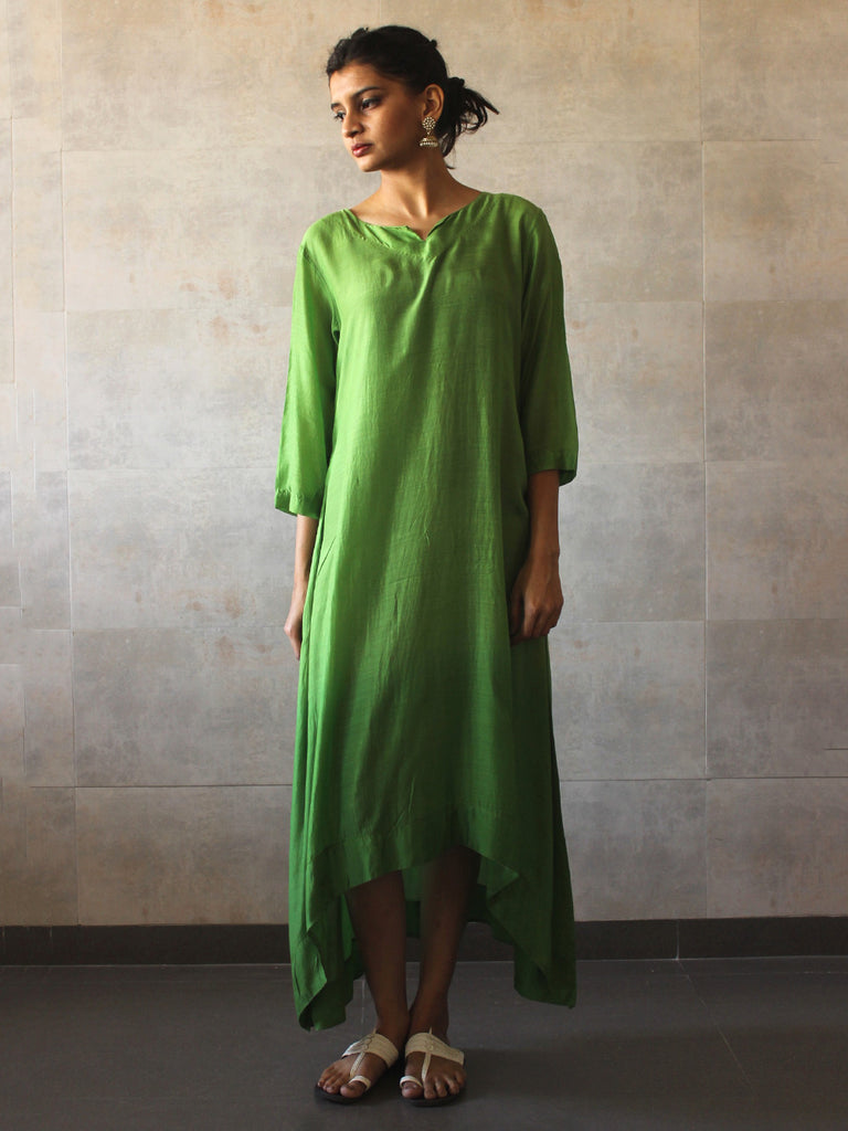 Green Ombre Cotton Silk Tunic