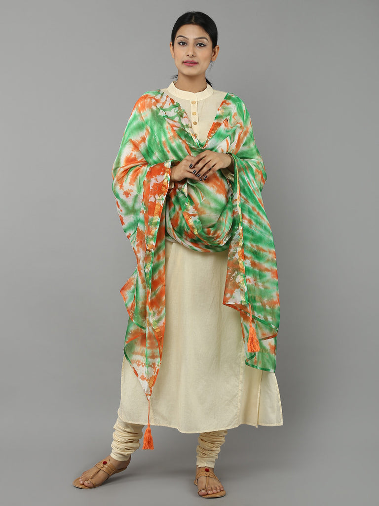 Green Orange Tie and Dye Chanderi Dupatta
