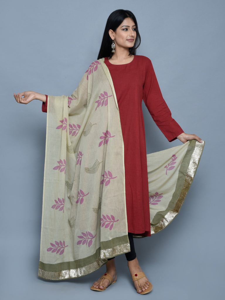 Green Pink Block Printed Dupatta