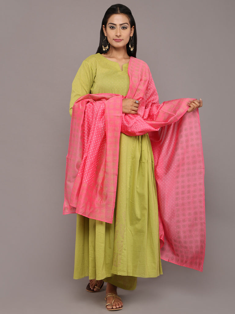 Green Pink Cotton Chanderi Hand Block Printed Suit - Set of 3